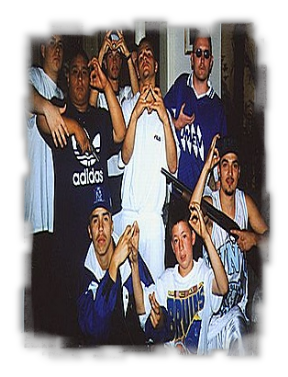 Hispanic Gang Members Throwing Handsigns